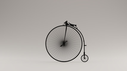 Black Penny Farthing Bicycle 3d illustration 3d render