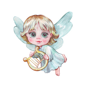little angel with a harp flying