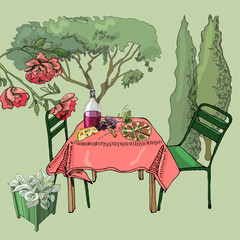 Scene with outdoor lunch. Hand drawn and colored cutout objects. Food, container  plants and furniture in sketch style.