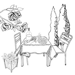 Monochrome scene with outdoor lunch. Hand drawn ink cutout elements. Food, container plants and furniture in sketch style.