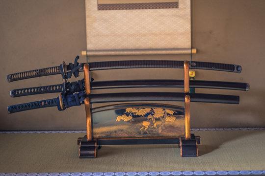 Kyoto - May 29, 2019: Samurai Katana Swords inside a Samurai house in Kyoto, Japan