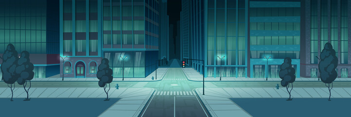 Crossroad in night city, empty transport intersection with traffic lights. Urban architecture, infrastructure, modern megapolis with skyscrapers, lamps, dark street view. Cartoon vector illustration