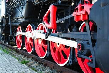 Old Russian locomotive on the railway.