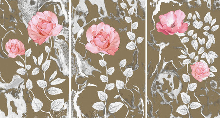 Collection of designer oil paintings. Decoration for the interior. Modern abstract art on canvas. Set of pictures with different textures and colors. Pink roses . Wall mural