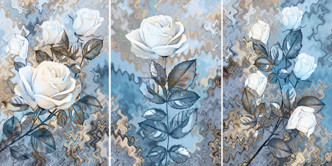 Collection of designer oil paintings. Decoration for the interior. Modern abstract art on canvas....