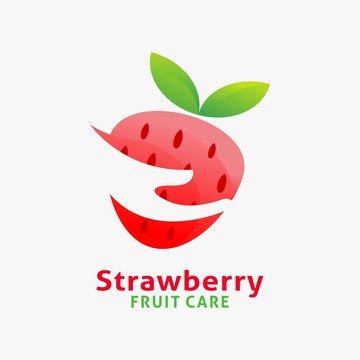 Logo design of fresh strawberry fruit with negative hand shape sliced