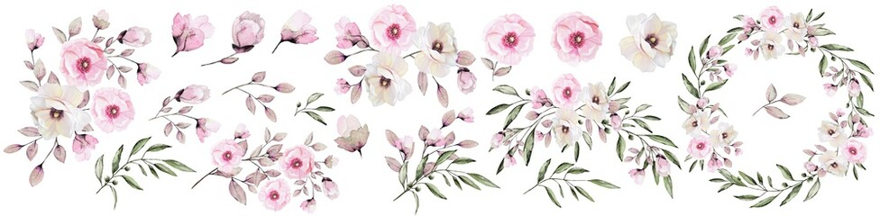 Flower set. Flowers,roses,twigs,leaves,rose composition, flower frame with pink roses . Watercolor invitation design.Greeting card with pink flowers.Wedding. Fototapete