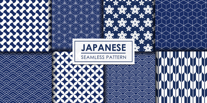Japanese seamless pattern collection, Decorative wallpaper.