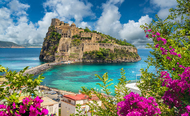 Landscape with Aragonese Castle,  Ischia island, Italy Fototapete