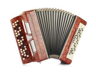 Obraz Brown accordion isolated on white background. File contains a path to isolation - fototapety do salonu