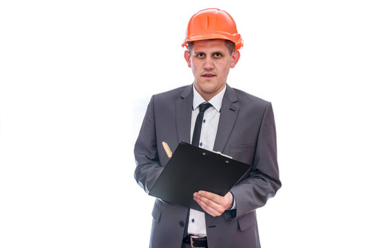 Man in helmet holding clipboard isolated on white