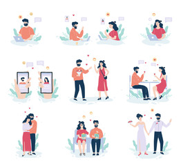 Online dating app concept. Virtual relationship and love