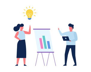 Woman with idea. Man making business presentation