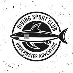 Diving club monochrome round emblem with shark