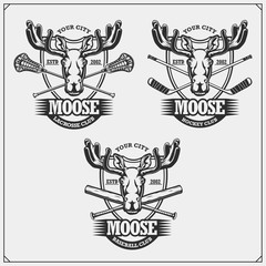 Baseball, lacrosse and hockey logos and labels. Sport club emblems with moose or elk. Print design for t-shirts.