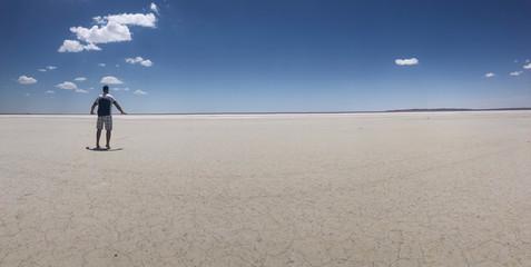 creative posture of unusual salt lake landscape