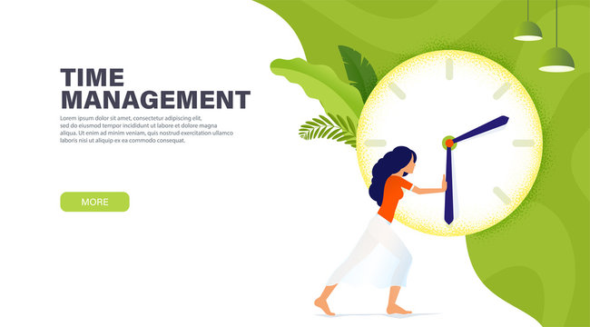 Time management banner with character, girl stopped time for rest. More time concept. The girl needs more time. Modern landing page design