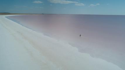 Bike driving in salt lake, adventure and delightful landscape texture