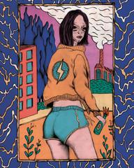 Illustration of woman wearing jacket and shorts