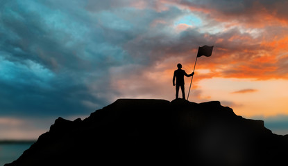 business, success, leadership, achievement and people concept - silhouette of businessman with flag on mountain top over sunset background Fototapete