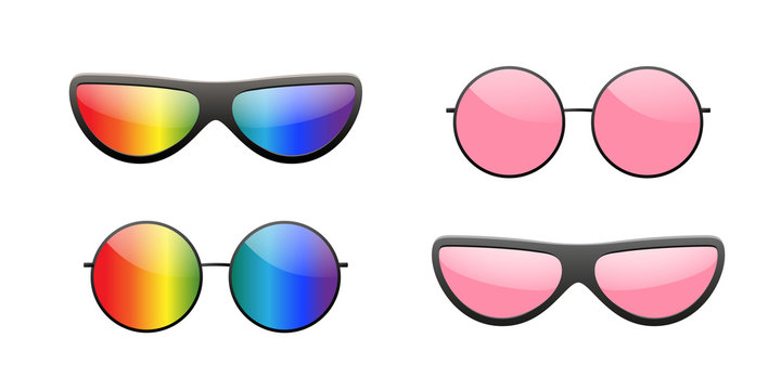 Sunglasses round icon. Pink rainbow sun glasses isolated white background. Fashion pink vintage graphic style. Modern optical beach accessory Eye summer protection. Eyesight symbol Vector illustration