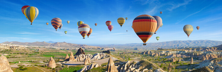 Panoramic view of unusual rocky landscape in Cappadocia, Turkey.