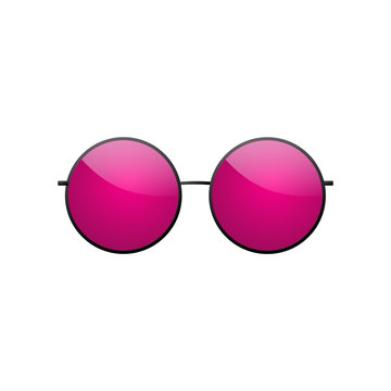 Sunglasses round icon. Pink sun glasses isolated white background. Fashion pink vintage graphic style. Female modern optical beach accessory. Eye summer protection Eyesight symbol Vector illustration