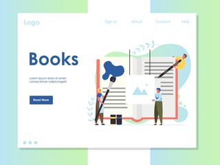 Books vector website landing page design template