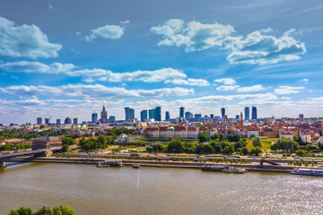 City skyline background. Aerial view of Warsaw capital city of Poland. From above, city view with...