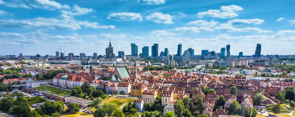 Aerial panorama of Warsaw, Poland  over the Vistual river and City center in a distance