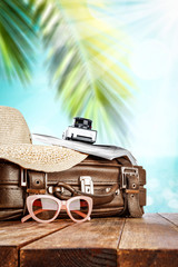 Summer suitcase and beach landscape with sea and coconuts