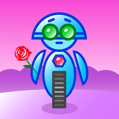 Cartoon lover cute robot with green eyes stands with a rose against a background of purple landscape.