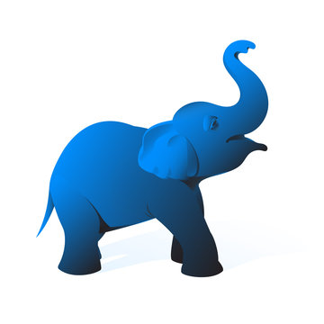 Drawing of a small elephant of blue color on a white background.
