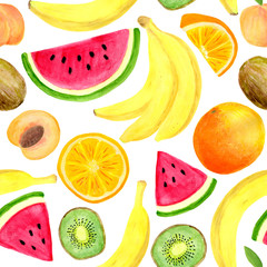 Watercolor tropical fruits seamless pattern. Hand drawn banana, kiwi slice, peach, watermelon, orange isolated on white background for food package design, textile, print, cover, wrapping, cards.