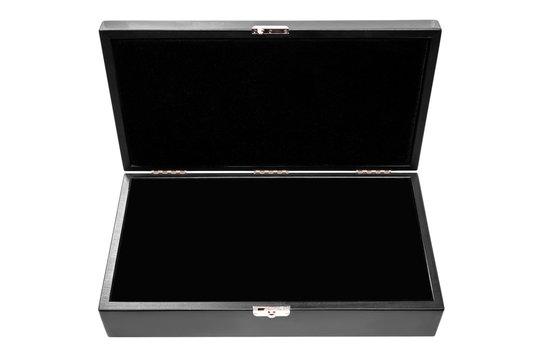 Luxury open black box isolated on white background. Open black wooden box.