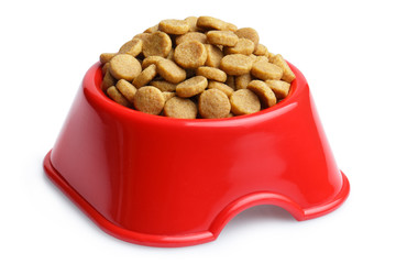 Dry cat food in a red plastic bowl, isolated on white background Wall mural