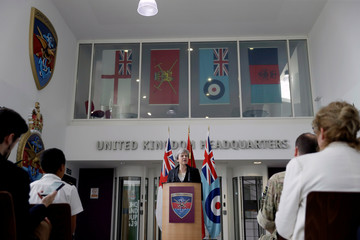 Britain's PM May delivers a speech at headquarters of Joint Forces Command in Northwood, London
