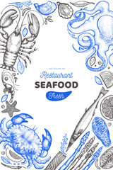 Seafood and fish design template. Hand drawn vector illustration. Food banner. Can be used for design menu, packaging, recipes, label, fish market, seafood products.