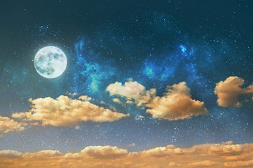 a night sky background with stars, moon and clouds