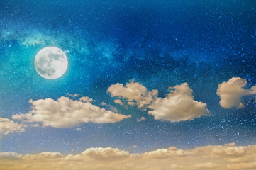 night sky with starrs, moon and clouds