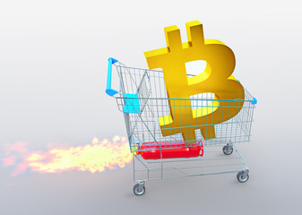 a golden bitcoin icon on trolley with rocket, price rises concept, 3D illustration