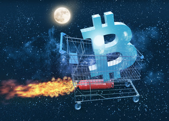bitcoin price going to the moon concept, 3D illustration