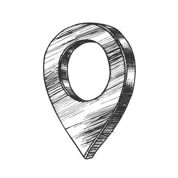 Navigation Map Pointer Gps Location Sign Vector. Showing Address Position Location On Chart. Navigator Element. Cartography Marker Monochrome Designed In Retro Style Cartoon Illustration