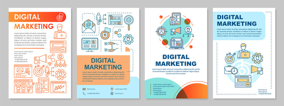 Digital marketing brochure template layout. SMM, targeting. Flyer, booklet, leaflet print design with linear illustrations. Vector page layouts for magazines, annual reports, advertising posters