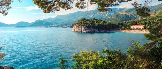 Picturesque summer view to Adriatic sea coast, villa Milocer with Royal beach in Montenegro, Amazing spot to visiting in Europe Fototapete