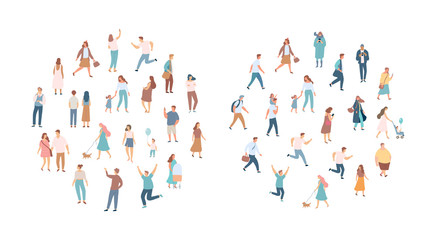Crowd of people. Men and women flat vector set. Different walking and running people. Outdoor. Male and female. Flat vector characters isolated on white background.