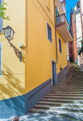 Fototapete - Idyllic landscape of resort village Riomaggiore, Cinque Terre, Liguria, Italy