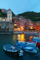 Fototapete - Resort Village Vernazza, Cinque Terre, Italy at dusk
