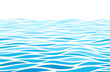 Blue water waves perspective landscape. Vector horizontal seamless pattern Fototapete
