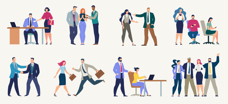 Businesspeople, Office Workers Flat Vector Set
